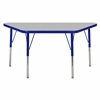 "24""x48"" Trapezoid T-Mold Activity Table, Grey/Blue/Toddler Swivel"