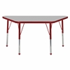 "24""x48"" Trapezoid T-Mold Activity Table, Grey/Red/Toddler Ball"
