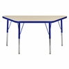 "24""x48"" Trapezoid T-Mold Activity Table, Maple/Blue/Toddler Swivel"