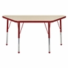 "24""x48"" Trapezoid T-Mold Activity Table, Maple/Red/Standard Ball"