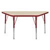 "24""x48"" Trapezoid T-Mold Activity Table, Maple/Red/Standard Swivel"