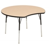 "48"" Crescent Thermo-Fused Activity Table, Maple/Black/Standard Swivel"