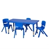 "48"" Rect Resin Table & 4x16"" Chairs - Blue"