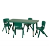"ECR4Kids 48"" Rect Resin Table & 4x16"" Chairs - Green"