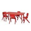 "48"" Rect Resin Table & 4x16"" Chairs - Red"