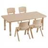 "ECR4Kids 48"" Rect Resin Table & 4x16"" Chairs - Sand"