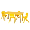 "48"" Rect Resin Table & 4x16"" Chairs - Yellow"