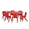 "ECR4Kids 48"" Rect Resin Table & 6x10"" Chairs - Red"