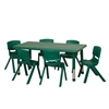 "48"" Rect Resin Table & 6x12"" Chairs - Green"