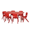 "48"" Rect Resin Table & 6x12"" Chairs - Red"