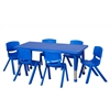 "48"" Rect Resin Table & 6x14"" Chairs - Blue"