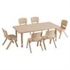 "ECR4Kids 48"" Rect Resin Table & 6x14"" Chairs - Sand"