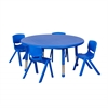 "45"" Round Resin Table & 4x12"" Chairs - Blue"
