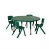 "ECR4Kids 45"" Round Resin Table & 4x12"" Chairs - Green"