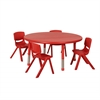 "ECR4Kids 45"" Round Resin Table & 4x12"" Chairs - Red"