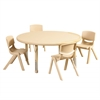 "ECR4Kids 45"" Round Resin Table & 4x14"" Chairs - Sand"