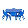 "45"" Round Resin Table & 8x10"" Chairs - Blue"
