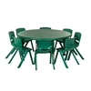 "ECR4Kids 45"" Round Resin Table & 8x10"" Chairs - Green"