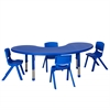 "65"" Kidney Resin Table & 4x16"" Chairs - Blue"