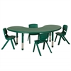 "65"" Kidney Resin Table & 4x16"" Chairs - Green"