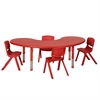 "65"" Kidney Resin Table & 4x16"" Chairs - Red"