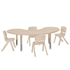 "65"" Kidney Resin Table & 4x16"" Chairs - Sand"