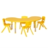 "65"" Kidney Resin Table & 4x16"" Chairs - YE"