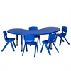"ECR4Kids 65"" Kidney Resin Table & 5x14"" Chairs - Blue"