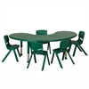 "65"" Kidney Resin Table & 5x14"" Chairs - Green"