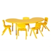"65"" Kidney Resin Table & 5x14"" Chairs - YE"