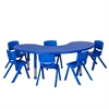 "ECR4Kids 65"" Kidney Resin Table & 6x10"" Chairs - Blue"
