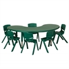 "65"" Kidney Resin Table & 6x10"" Chairs - Green"
