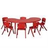 "65"" Kidney Resin Table & 6x10"" Chairs - Red"