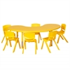 "65"" Kidney Resin Table & 6x10"" Chairs - YE"