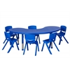 "65"" Kidney Resin Table & 6x12"" Chairs - Blue"