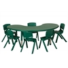 "ECR4Kids 65"" Kidney Resin Table & 6x12"" Chairs - Green"