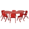 "65"" Kidney Resin Table & 6x12"" Chairs - Red"