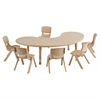 "65"" Kidney Resin Table & 6x12"" Chairs - Sand"