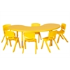 "65"" Kidney Resin Table & 6x12"" Chairs - YE"