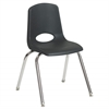 "18"" Stack Chair - Chrome w/ Swivel Glide - BK, set of 5"