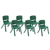 "12"" Resin School Stack Chair - Green, set of 6"