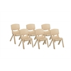 "ECR4Kids 14"" Resin School Stack Chair - Sand, set of 6"