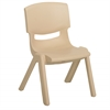 "16"" Resin School Stack Chair - Sand, set of 6"
