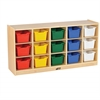 ECR4Kids Birch 15 Cubby Tray Cabinet w/ Assorted Bins