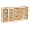 ECR4Kids Birch 15 Cubby Tray Cabinet w/ Clear Bins