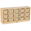 ECR4Kids Birch 15 Cubby Tray Cabinet w/ Sand Bins