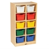 ECR4Kids Birch 10 Cubby Tray Cabinet w/ Assorted Bins