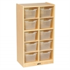 ECR4Kids Birch 10 Cubby Tray Cabinet w/ Clear Bins