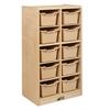 ECR4Kids Birch 10 Cubby Tray Cabinet w/ Sand Bins