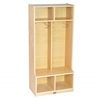 ECR4Kids Birch 2-Section Coat Locker with Bench